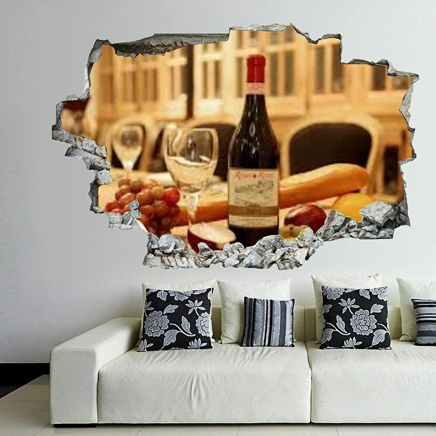 Wine Glass Daily bargain sale 3D Wall 55% OFF Art Sticker Decals Self Smash Adhesive