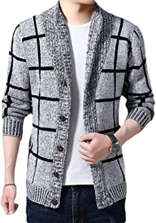 Jotebriyo Men Open Front Knit Regular Fit Lace Up Casual Hooded Cardigan Sweater