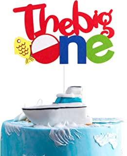 BeYumi Gone Fishing Inspired 1st Birthday Cake Topper, The Big One Party Cake Decoration Supplies