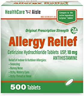 HealthCareAisle Allergy Relief Cetirizine Hydrochloride Tablets, USP | 24 Hour Allergy Relief | 10 mg | 500 Count