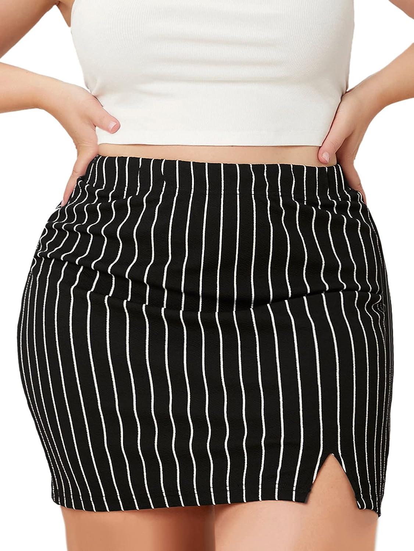 Milumia Women's Plus Size Striped Pencil Skirt Slit Hem Bodycon Short Skirt