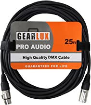 Gearlux 25ft DMX Cable, 3-Pin XLR Male to Female DMX Cable, Black