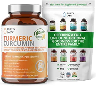Organic Turmeric Curcumin 2,250MG. Highest Quality and Potency Available - 95% Standardized Curcuminoids and Black Pepper ...