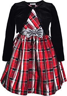 Girls Plus Size Red Holiday Plaid Dress with Cardigan