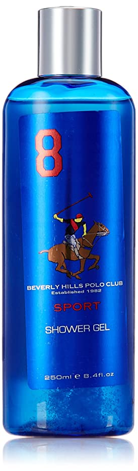 気球包帯分泌するBeverly Hills Polo Club Sports Shower Gel for Men, No 8, 250ml
