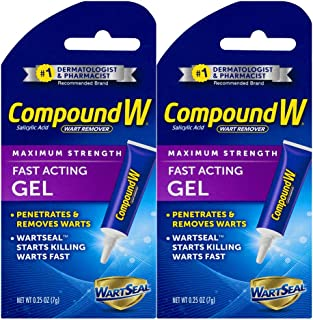 Compound W Fast Acting Gel | Salicylic Acid Wart Remover | 0.25 OZ | 2 Pack