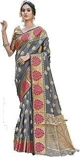 Designer Border Pure Silk Indian Zari Thread Work Party Festival Woman Saree Blouse sari 6064