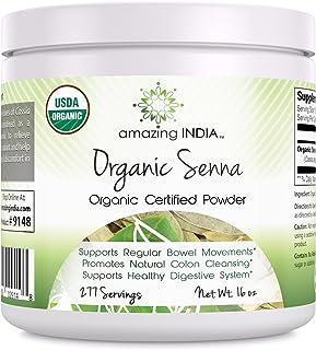 Amazing India USDA Certified Organic Senna Powder 16 oz-Raw, Vegan- Gluten-Free, Plant-Based Nutrition Promotes Regularity...