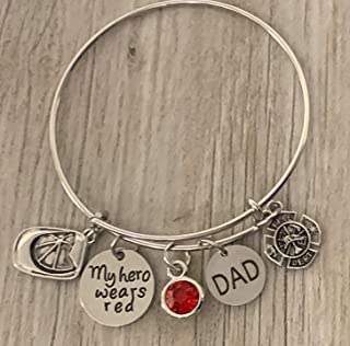 Firefighter Daughter Charm Bangle Bracelet, Dad-My Hero Wears Red Jewelry Gift for Firefighter Wife, Daughter, Family - Fireman Jewelry, Firefighter Daughter Gift
