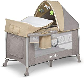 Lionelo Simon 2in1 Baby Bett Laufstall Baby ab Geburt bis 15 kg Wickelauflage Spielkarussell Stofftiere luftige Seitenwände Moskitonetz Transporttasche zusammenklappbar Sand