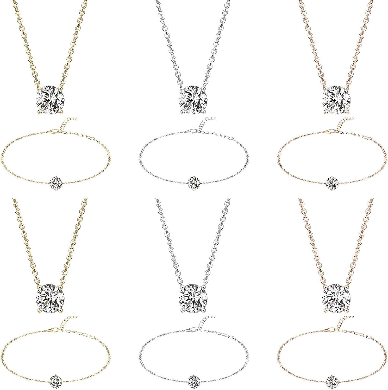 Zirconia Necklaces and Bracelets Set Dainty Cubic Zirconia Necklace Crystal Rhinestone Pendant Necklace Zirconia Diamond Bracelets Bridesmaid Bracelets for Women