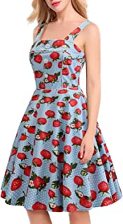 Sweet Strawberry Print Strap Vintage Dress Women Summer Backless 60S Casual Elegant School Big Swing A Line Dresses
