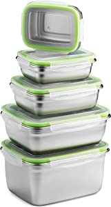 Stainless Steel Food Storage Containers | Leak Proof & Airtight Lids | Set of Containers BPA Free that are Dishwasher & Freezer Safe