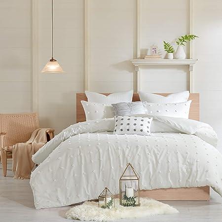 "Urban Habitat Duvet Set 100% Cotton Jacquard, Tufts Accent, Shabby Chic All Season Comforter Cover, Matching Shams, Decorative Pillows Brooklyn, Ivory Twin/Twin XL(68""x92"") 5 Piece"