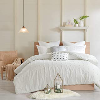 Urban Habitat Brooklyn Duvet Set 100% Cotton Jacquard, Tufts Accent, Embroidered Toss Pillows, Shabby Chic All Season Comf...