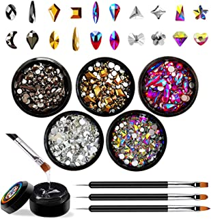 Nail Art Rhinestones Set with Glue and Tools, Mixed Flatback Crystal Rhinestones with 5 Colors (100 Pcs Colorful Crystals...