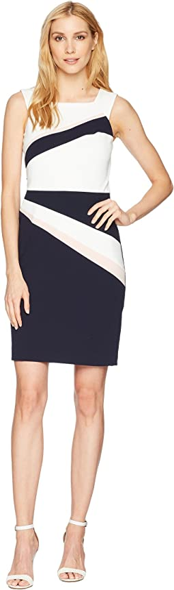 Color Block Scuba Crepe Sleeveless Dress