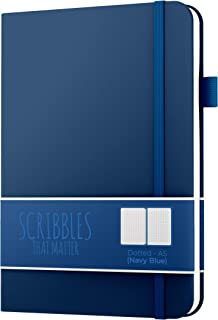 Dotted Journal by Scribbles That Matter - Create Your Perfect Bullet Journal with Ultra Thick 160gsm No Bleed Paper - A5 Hardcover Notebook - Fountain Pens Friendly Paper - Pro Version - Navy Blue