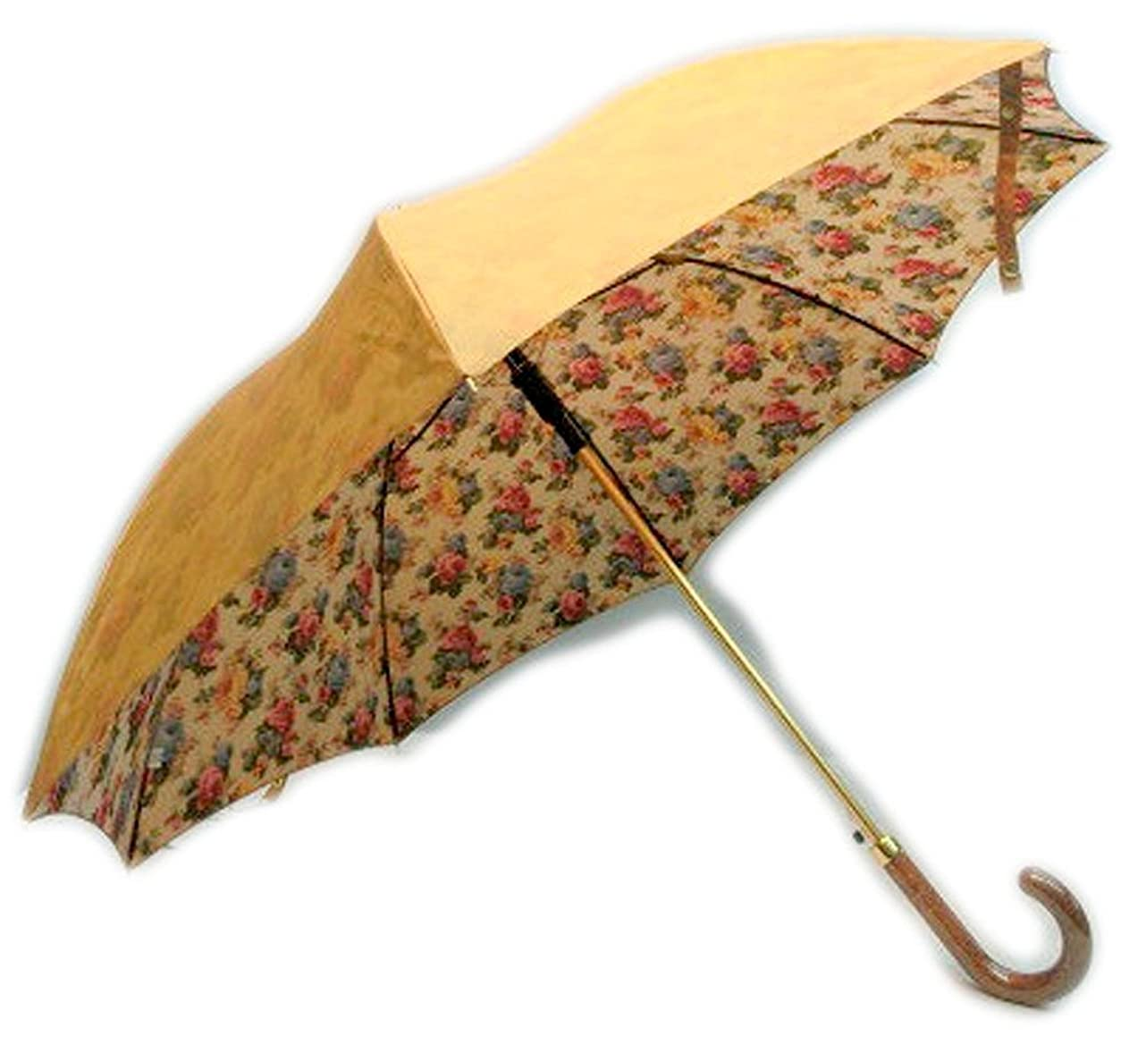 拡大する石膏尊敬する日本製 高級傘 上品な 両面シャンタン生地 裏ホグシプリント 転写プリント 軽量金骨 60cm ジャンプ傘 ベージュ 婦人傘