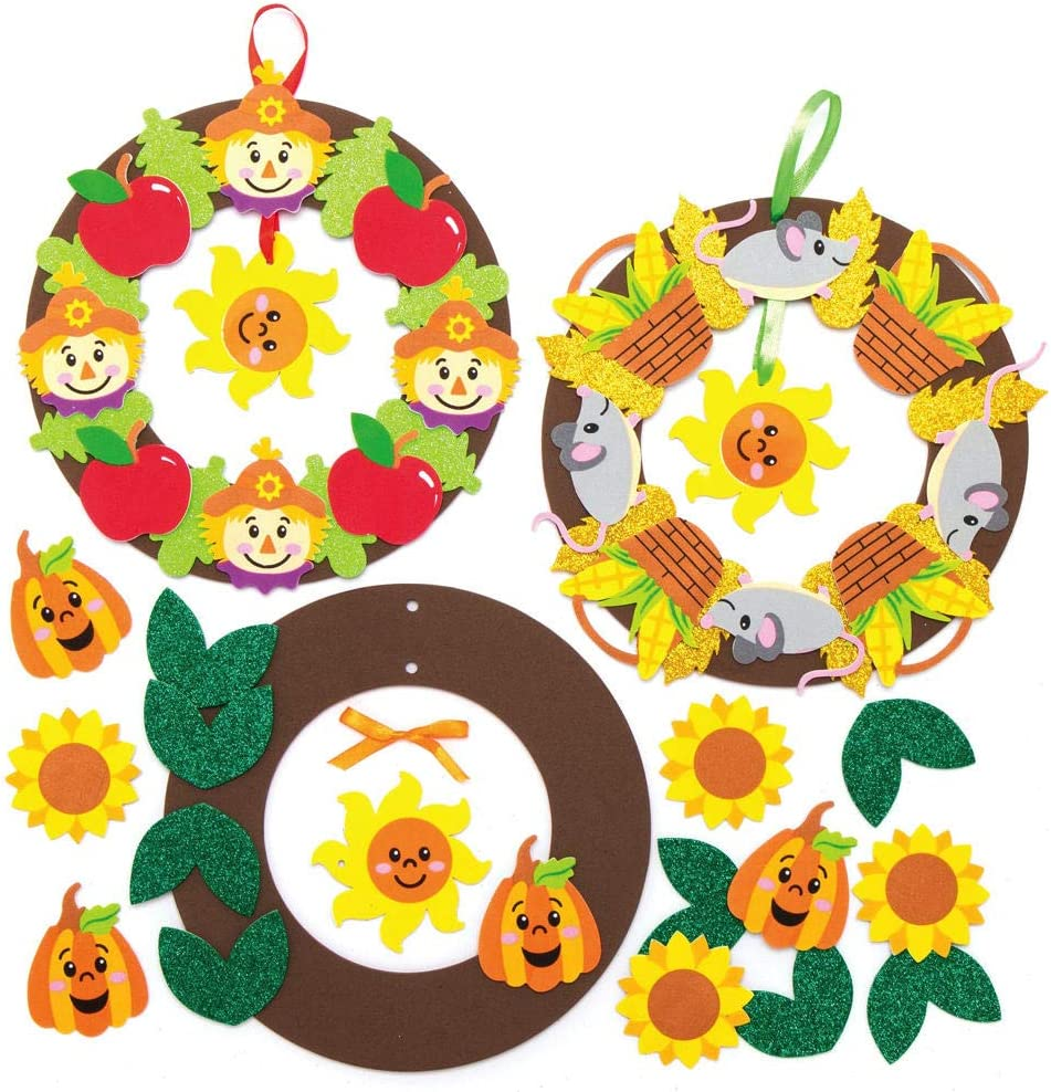 Baker Ross AX282 Limited time trial price Albuquerque Mall Harvest Festival Wreath Kids Kits 3 of - Pack