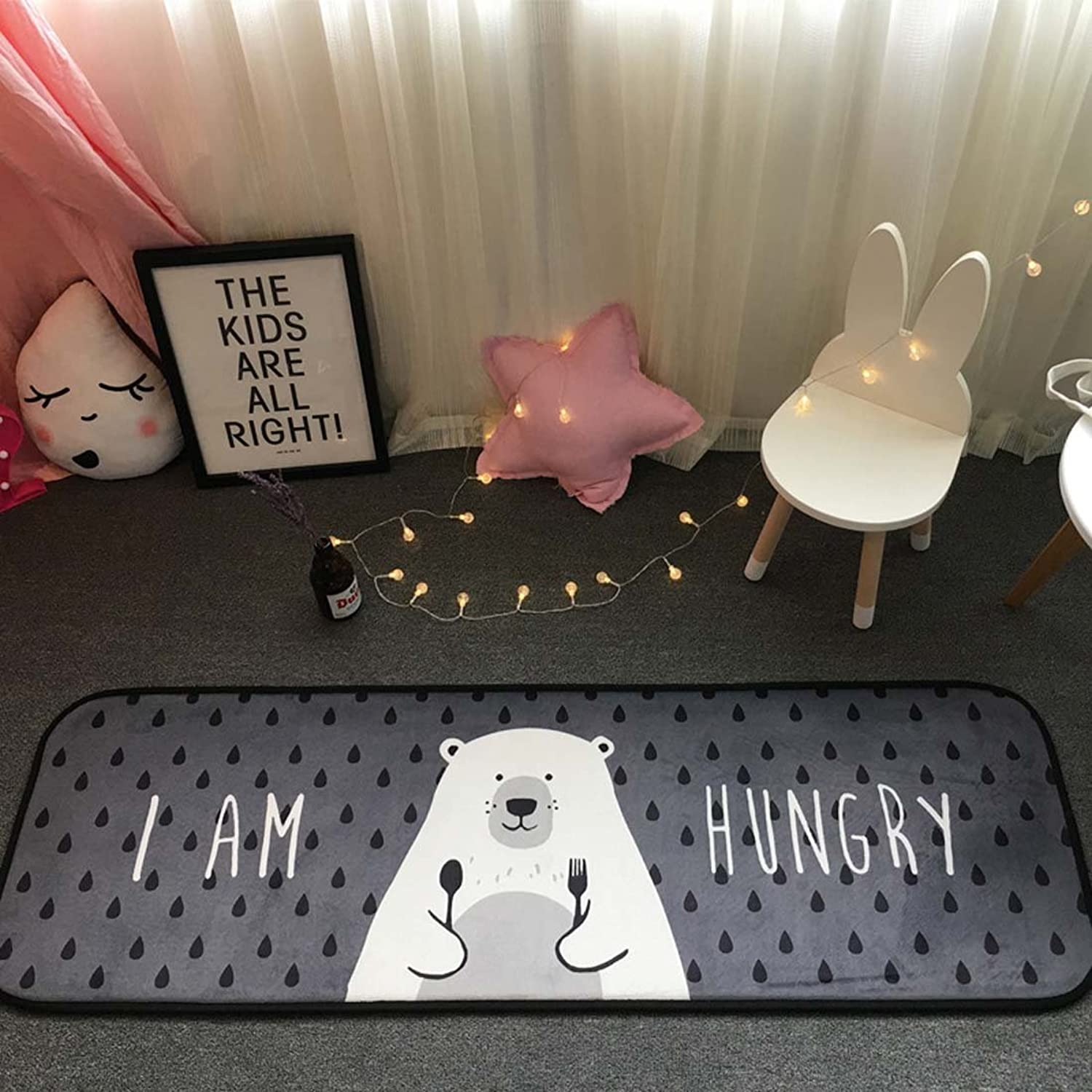 BABE MAPS Indoor Outdoor 2PCS Doormat Entrance Welcome Mat Absorbent Runner Inserts Non Slip Entry Rug Funny Greedy Bear, Home Decor Inside shoes Scraper Floor Carpet 19 x27  19 x58