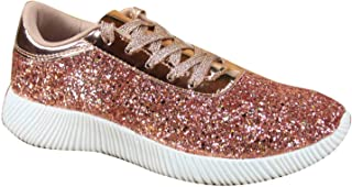 FZ-Yes-19 Women's Fashion Light Weight Lace Up Glitter Rubber Sneaker Shoes