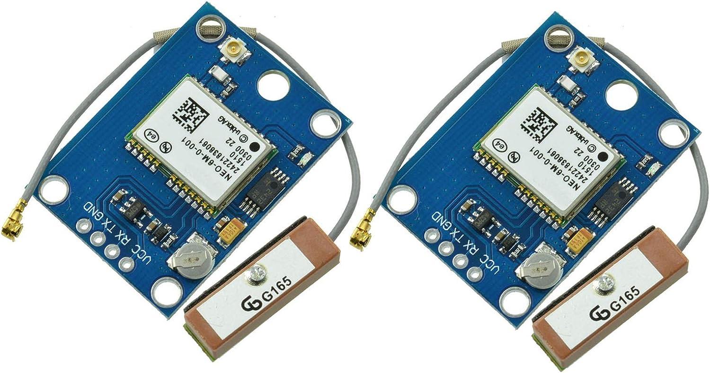 Aideepen Módulo de posición de módulo GPS GY-GPS6MV2 NEO-6M con controlador de vuelo de antena para MWC IMU APM2 (2 unidades)
