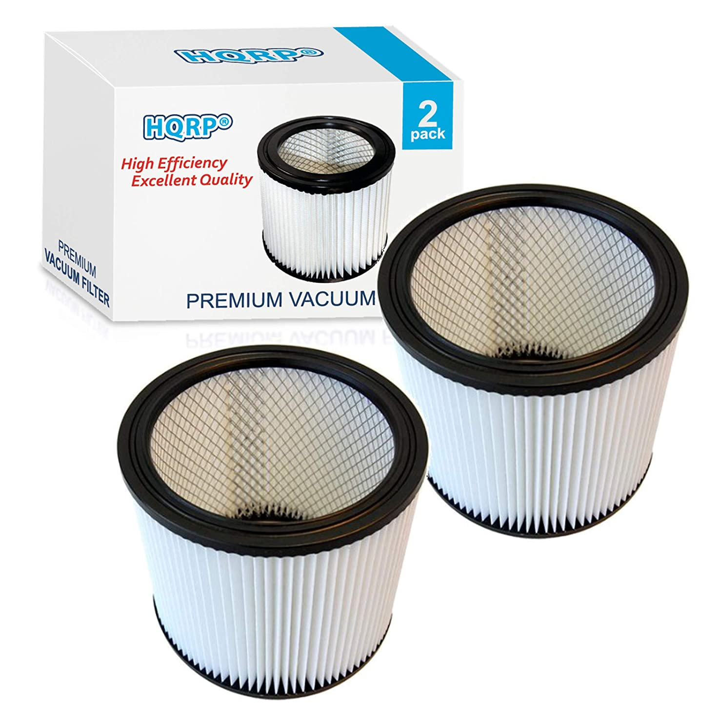 HQRP Cartridge Filter 2-Pack for Shop-Vac SL16-575A SS11-450 SS12-300A SS14-350A SS14-550A SS14-600C Vacuum Cleaner Coaster