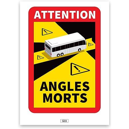 Lot de 3 Stickers Angles Morts Bus Officiel Adhésif pour Car Autocollant