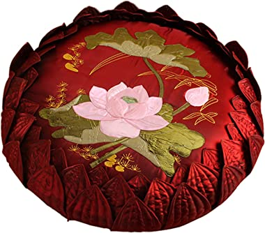 QSCV Round Thick Soft Floor Pillow Meditation Cushion,Premium Chinese Tradition Tatami Cushion Handcrafted Embroidery Lotus P