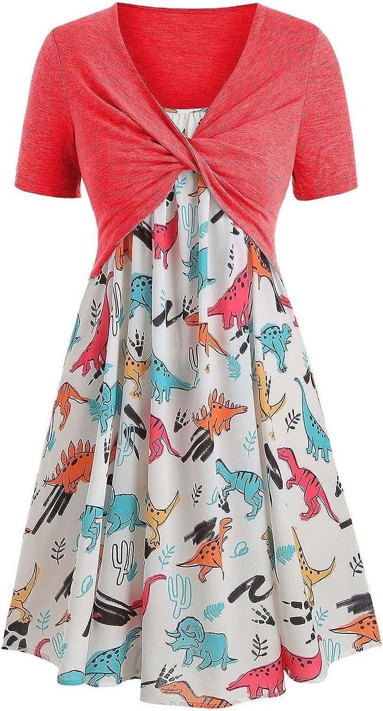 Women's Retro Cocktail Dresses Short-Sleeved Dinosaur Print Party Dresses V-Neck Comfortable Two-Piece Dress