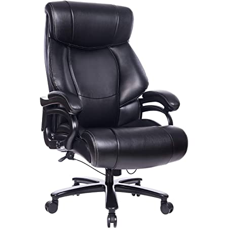Executive Office Chair, High Back 400LB Bonded Leather Reclining Desk Chair, Big & Tall Heavy Duty Metal Base & Linkage Armrests Ergonomic Computer Task Chair Adjustable Tilt Tension