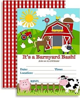 Barnyard Bash Farm and Barn Themed Birthday Party Invitations, 20 5