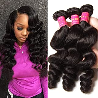 YIROO 9A Brazilian Loose Wave Virgin Human Hair Bundles,100% Unprocessed Human Hair Extensions Weave Natural Color (18 20 22inch, 1B)