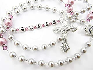 First Communion or Baptism Gift for a Girl - Personalized Rosary Beads in Gray and Rose - Catholic Christening, Confirmation, Quinceanera