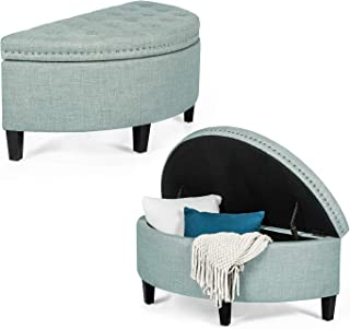 Homebeez Tufted Storage Ottoman Bench, Half Moon Fabric Upholstered Stool with Nailhead Trim for Living Bed Room (Light Blue)