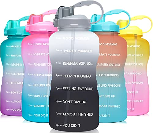 Venture Pal Large 1 Gallon/128 OZ (When Full) Motivational BPA Free Leakproof Water Bottle with Straw & Time Marker P...