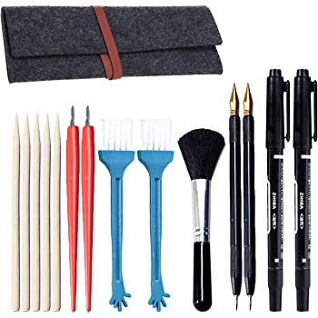 Sketch Color Pen,Sketch Paper Pens Black Brush Sketch Tools Set with Bamboo Sticks Scraper Repair Sketch Pen Brush Storage Bag 15 Pieces