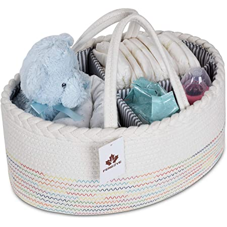 Baby Diaper Caddy Organizer Extra Large Nursery Storage Bin Woven Cotton Rope Baby Shower Basket 16.5X11X6.5 with 8 Pockets 5 Compartments Removable Insert for Changing Table//Ca White+Grey