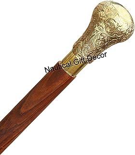 Nautical.Gift.Decor 37.4'' Rieten en wandelstokken in natuurlijk hout met een messing handvat