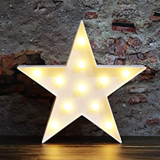 LED Marquee Star Signs Night Lights, Battery Operated Star Shaped Desk Table Lamp for Kids, Baby, Child, Girl Gift, Nursery Room, Wall Decor-Star(White)
