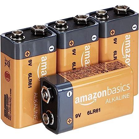 Amazon Basics Piles alcalines 9V pour le quotidien - Lot de 4 (le visuel peut différer)