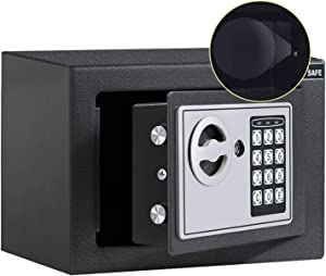 JUGREAT Safe Box with Induction Light,Electronic Digital Security Safe Steel Construction Hidden with Lock,Wall or Cabinet Anchoring Design for Home Office Hotel Business 0.23 Cubic Feet Graphite
