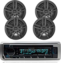 New Kenwood Outdoor Marine Boat/Car ATV AM/FM Radio CD/MP3 USB iPod iPhone Pandora Stereo Player with 4 New 6.5