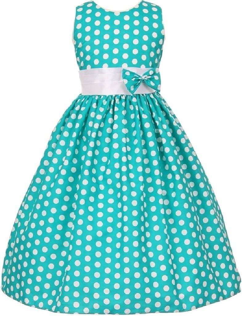Little Girls Polka Dot Allover Bow Accented Flowers Girls Dresses