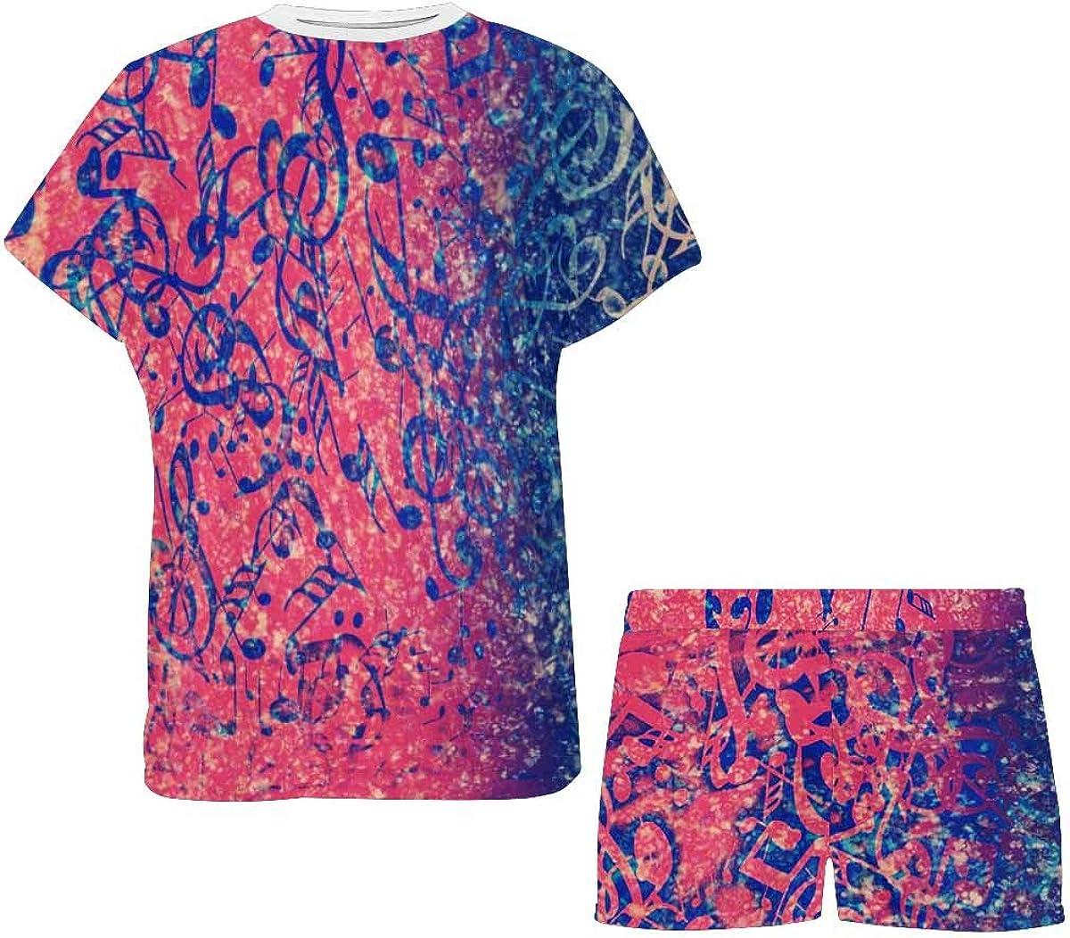 InterestPrint Abstract Musical Notes Women's Lightweight Pajama Set, Short Summer Pjs