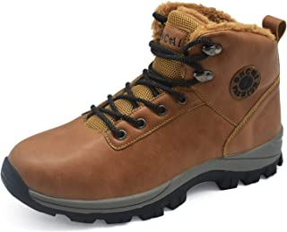 Mens Leather Snow Hiking Boots High Top Outdoor Walking Shoes Faux Fur Warm Winter Booties Non Slip