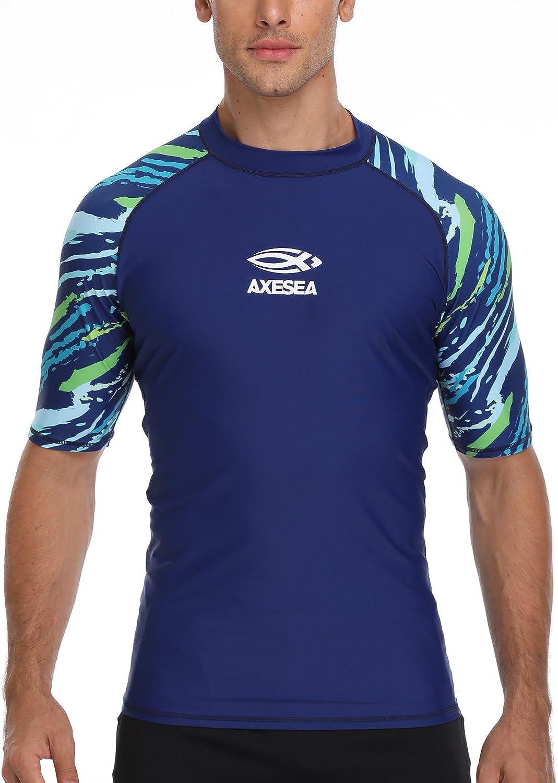 AXESEA Men's Short Sleeve Ranking TOP8 Solid Swimsuit Rashguar Cash special price Protection Sun