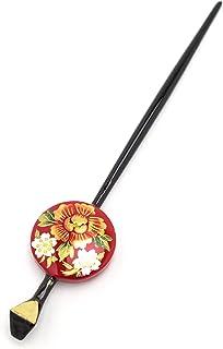 (ソウビエン) 平打簪 かんざし 赤 黒 牡丹 桜 レトロ モダン ヘアアクセサリー
