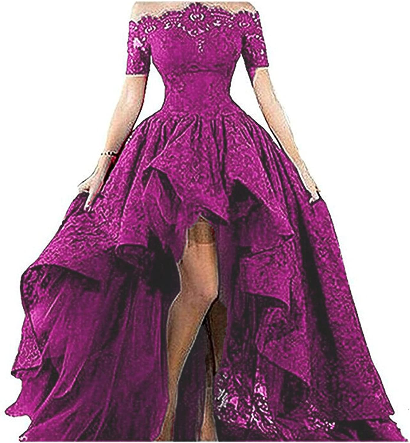 BEALEGAN Lady Women's Short Sleeves High Low Lace Prom Formal Evening Gown